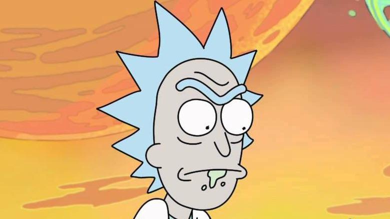 Rick Sanchez with vomit chin