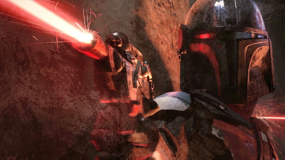 Mandalorian Din Djarin opening fire, from the concept art that closes the first episode of The Mandalorian