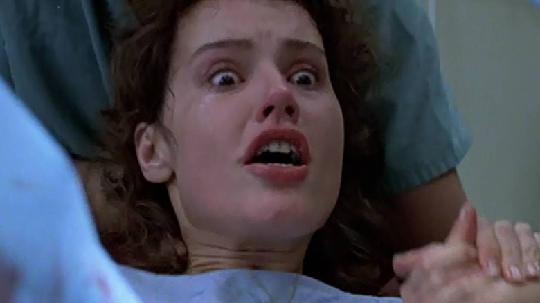 Geena Davis, mouth open