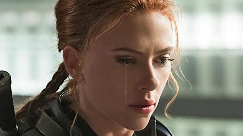 Scarlett Johansson as Natasha Romanoff crying in Black Widow