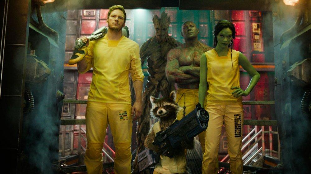 Chris Pratt, Dave Bautista, and Zoe Saldana in Guardians of the Galaxy