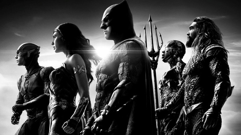 Ezra Miller as The Flash, Gal Gadot as Wonder Woman, Ben Affleck as Batman, Ray Fisher as Cyborg, and Jason Momoa as Aquaman in Zack Snyder's Justice League