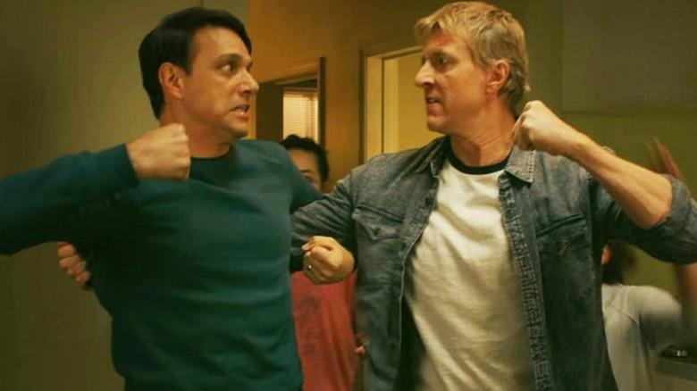 Ralph Macchio and William Zabka as Daniel LaRusso and Johnny Lawrence on Cobra Kai