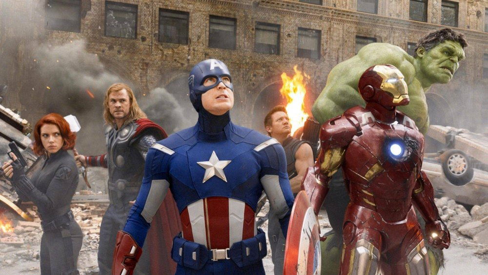 Black Widow, Thor, Captain American, Iron Man, and Hulk in the Avengers