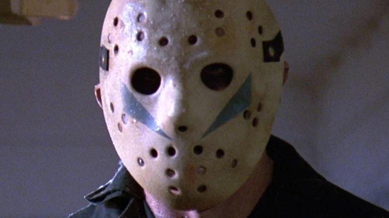 Jason Voorhees posing in hockey mask