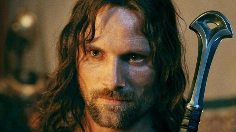 Aragorn glares with sword