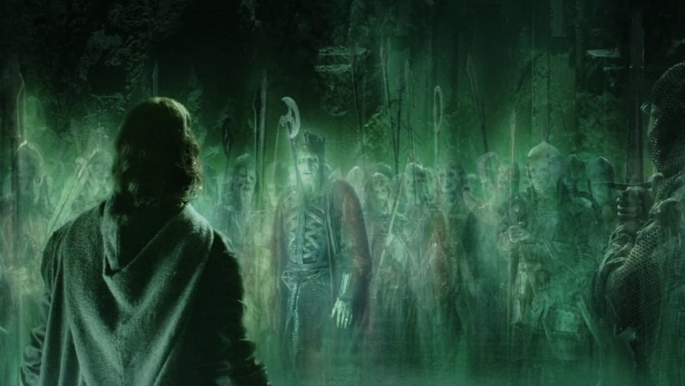 Aragorn is confronted by the Army of the Dead in The Lord of the Rings