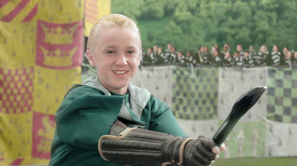 Draco Malfoy flying on broom