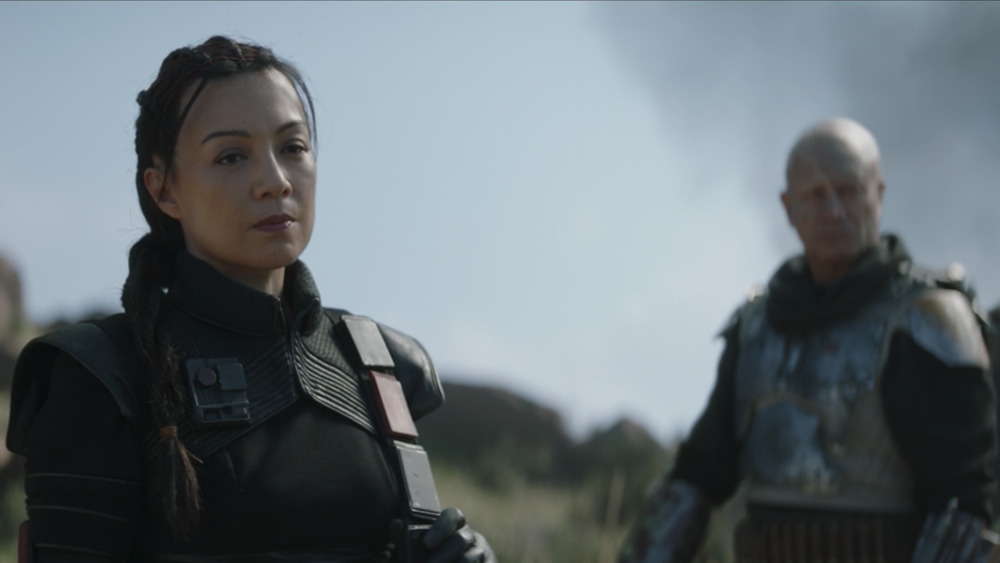 Boba Fett (Temuera Morrison) and Fennis Chand (Ming-Na Wen) in The Mandalorian
