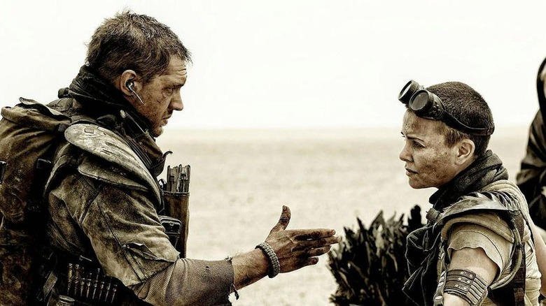 Tom Hardy as Max Rockatansky and Charlize Theron as Imperator Furiosa in Mad Max: Fury Road