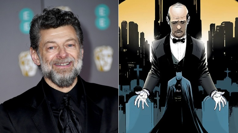 Andy Serkis and art of Alfred Pennyworth standing over Batman by Lee Weeks