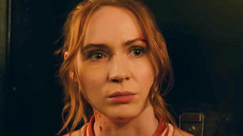 Karen Gillan Gunpowder Milkshake blood on neck
