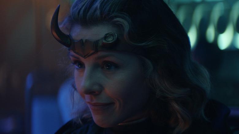 Sophia DiMarco with horn crown on Loki