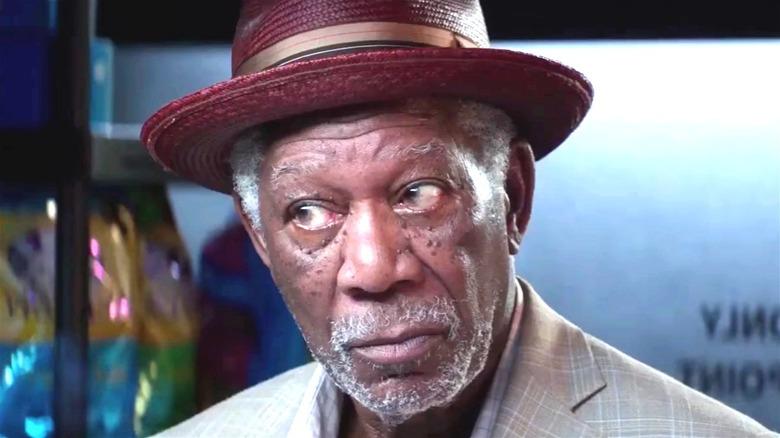 Morgan Freeman wearing straw hat