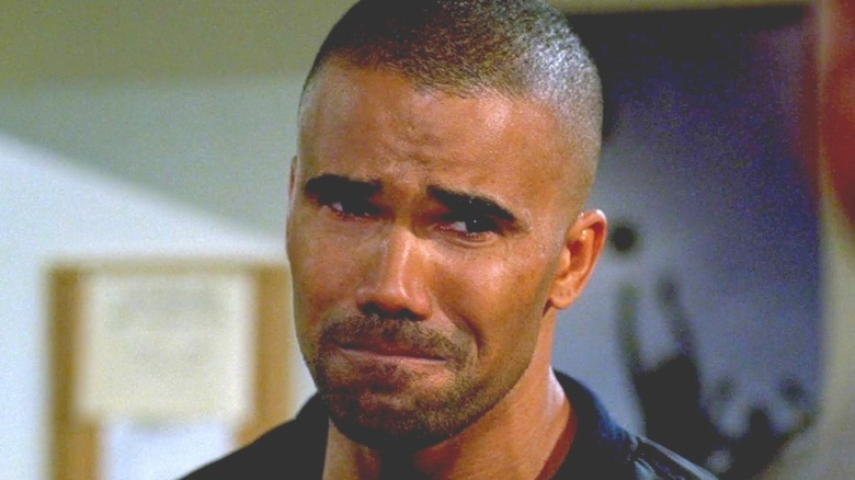 Shemar Moore as Derek Morgan crying