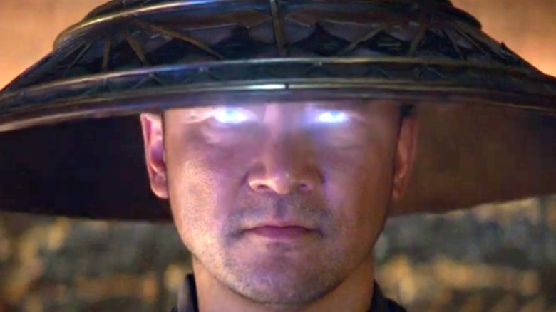 Raiden with glowing blue eyes