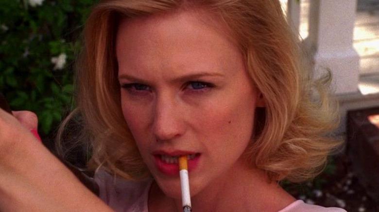 Betty Draper smoking cigarette