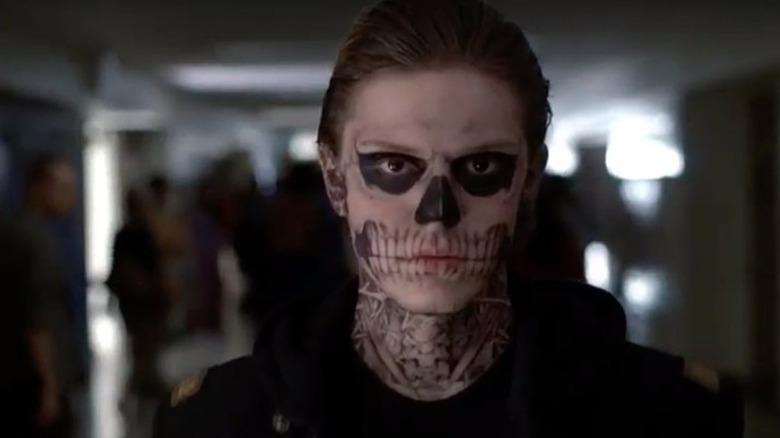 Tate wears skeleton makeup