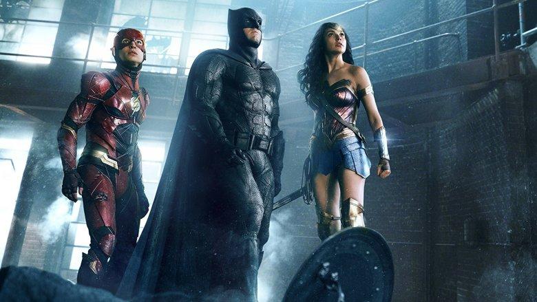 Ben Affleck, Gal Gadot, and Ezra Miller in Justice League (2017)