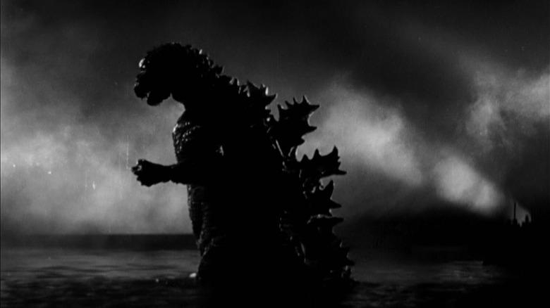 Godzilla wades through the ocean