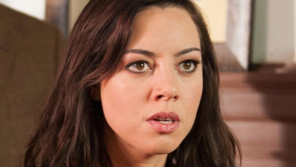 April Ludgate staring in shock