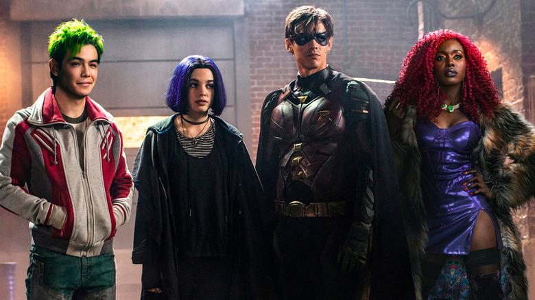 Anna Diop, Teagan Croft, Brenton Thwaites, and Ryan Potter as Starfire, Raven, Robin and Beast Boy in Titans season 1