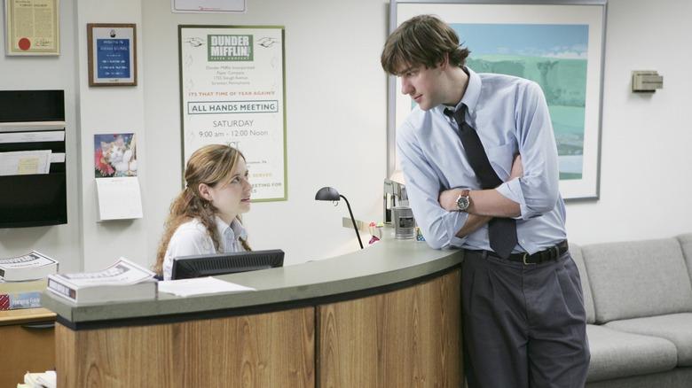 John Krasinski and Jenna Fischer as Jim and Pam on The Office