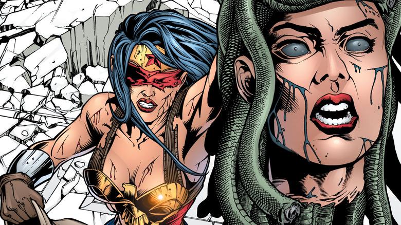 Wonder Woman hoists the severed head of Medusa
