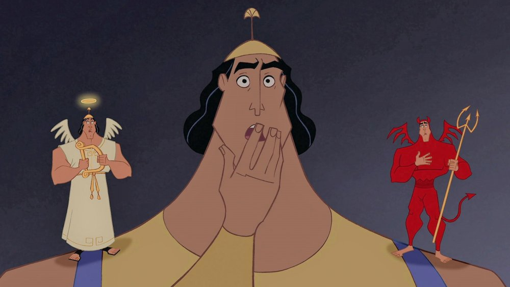 Kronk and his shoulder devil and angel in The Emperor's New Groove