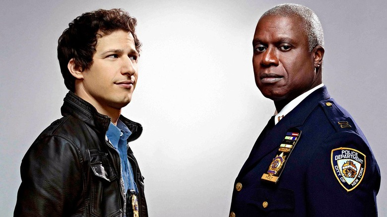 Andy Samberg as Jake Peralta and Andre Braugher as Captain Raymond Holt on Brooklyn Nine-Nine