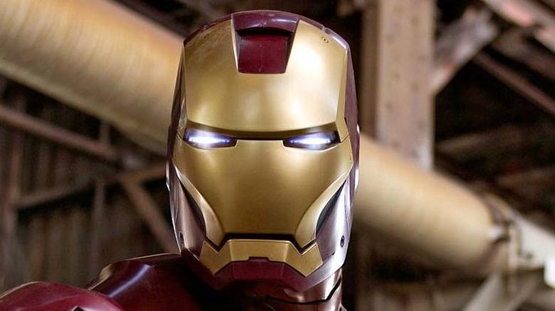Iron Man's helmet staring ahead