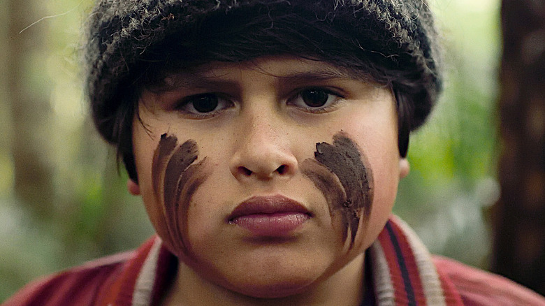 Ricky with face paint Hunt for the Wilderpeople