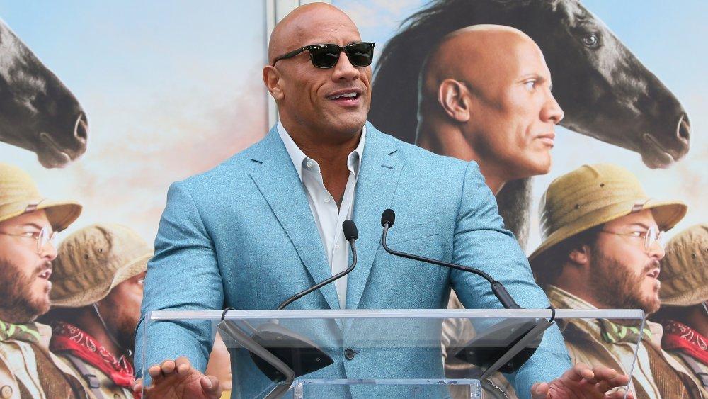 "Dwayne ""The Rock"" Johnson at a Jumanji premiere event."