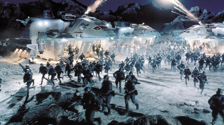 A battle scene in Starship Troopers