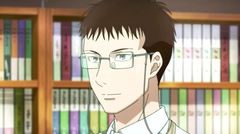 Kosuke working in the bookstore