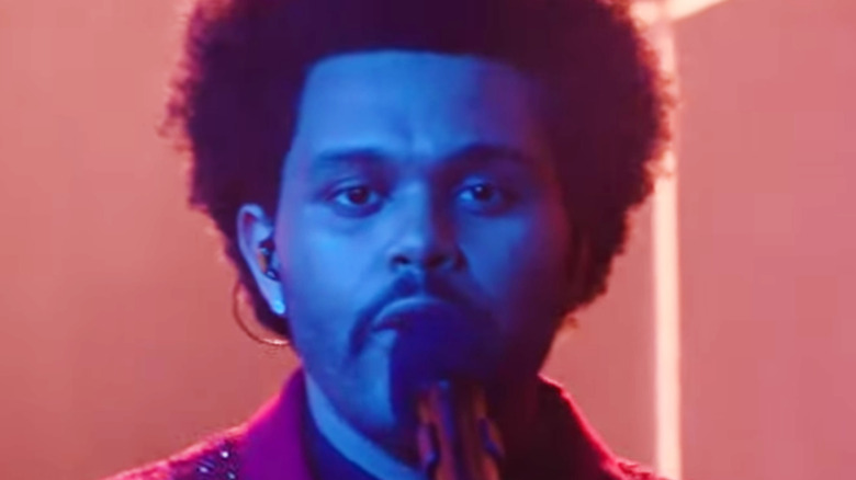 The Weeknd singing at Super Bowl LV