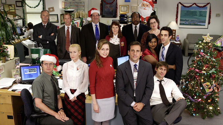 Cast of The Office at a Christmas party
