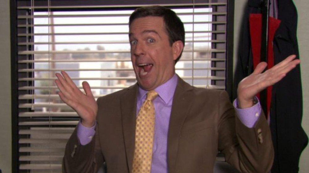 Ed Helms does 'ta-dah' hands as Andy Bernard on The Office