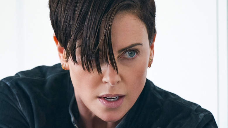 Charlize Theron hair over one eye