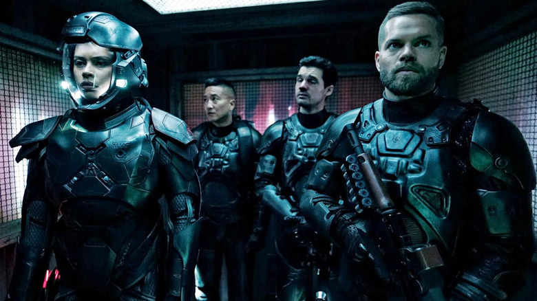 The Expanse cast in space suits