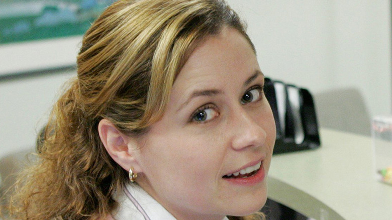 Pam Beesly at her desk