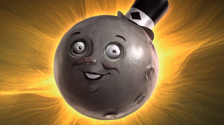 glowing moon wearing top hat
