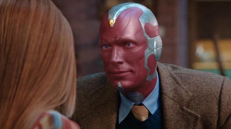 Vision looking at Wanda in WandaVision episode 3