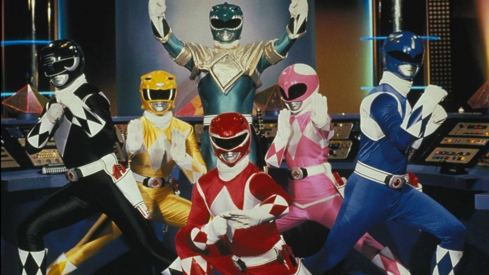 The riginal six Mighty Morphin Power Rangers in a promo photo