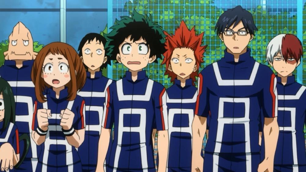 Tsuyu Asui, Koji Koda, Ochaco Uraraka, Hanta Sero, Izuku Midoriya, Eijiro Kirishima, Tenya Ida, and Shoto Todoroki on My Hero Academia