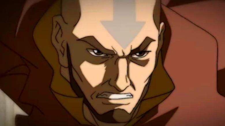 Aang gritting his teeth