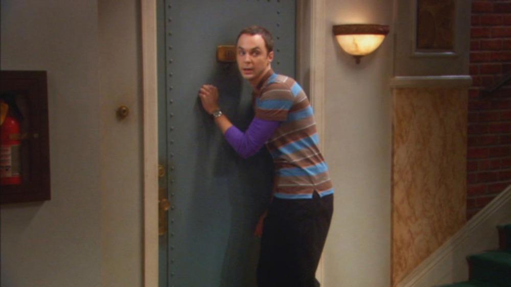 Sheldon (Jim Parsons) knocks three times on The Big Bang Theory