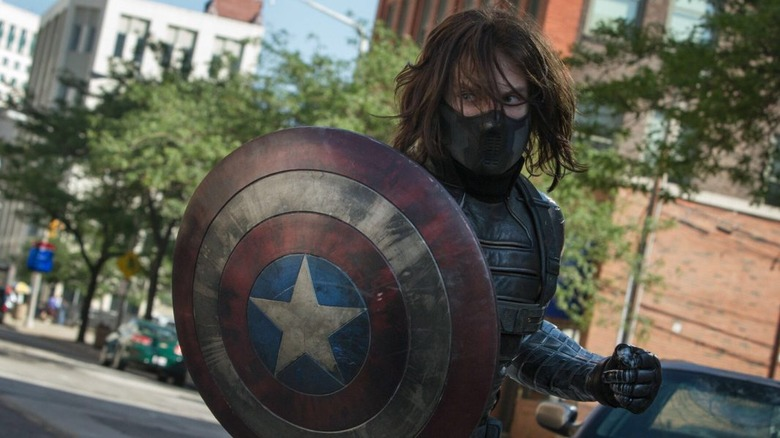 Sebastian Stan as Winter Soldier with Cap's shield in Captain America: The Winter Soldier