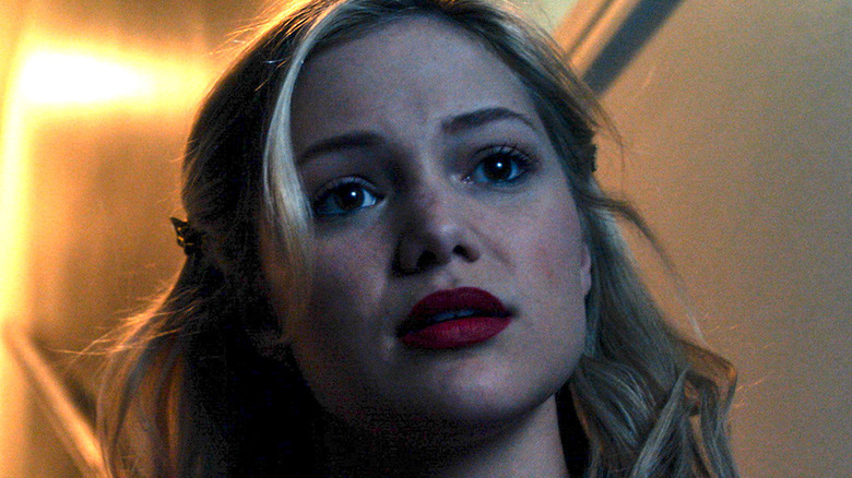 Olivia Holt red lipstick