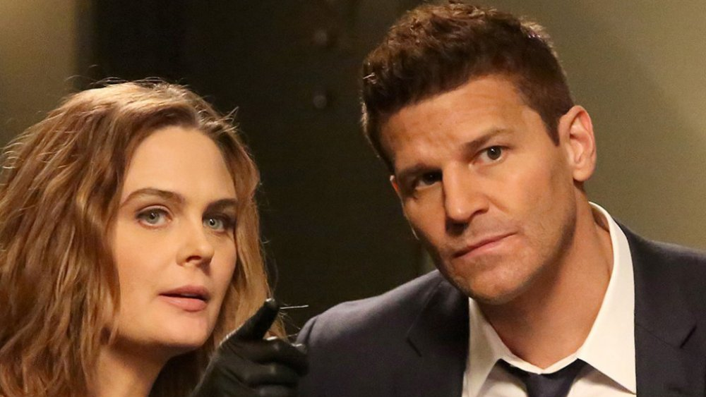 "Emily Deschanel as Temperance ""Bones"" Brennan and David Boreanaz as FBI Special Agent Seeley Booth in Bones"